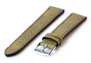 Horlogeband 18mm kakigroen leer