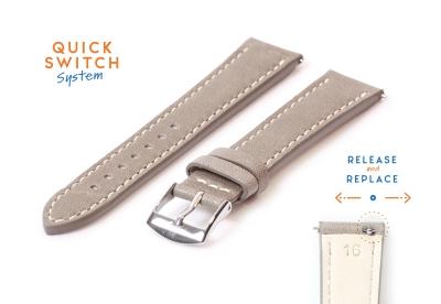 Uhrenarmband 16mm grau Leder