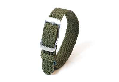 Perlon Uhrenarmband 14mm dunkelgrün