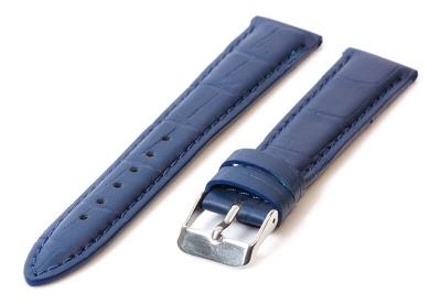 Uhrenarmband 16mm Blau Leder mit Kroko-Druck