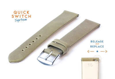 Uhrenarmband 16mm khakigrünes Leder