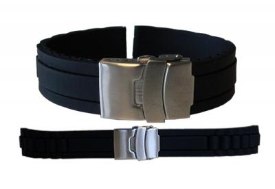 Uhrenarmband 16mm Schwarz Kautschuk