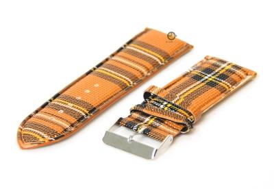 Uhrenarmband 28mm Braun/Gelb Leder
