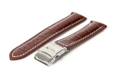 Gisoni Uhrenarmband 24mm Braun Leder mit Faltschließe