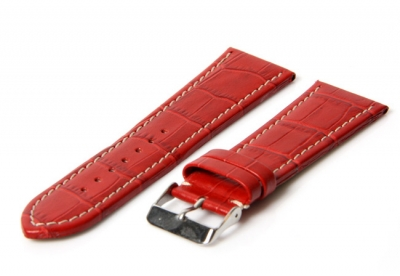 Uhrenarmband 26mm Rot Leder mit Kroko-Druck