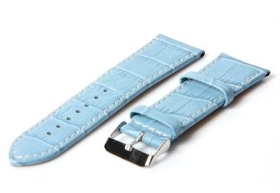 Uhrenarmband 28mm Hellblau Leder mit Kroko-Druck