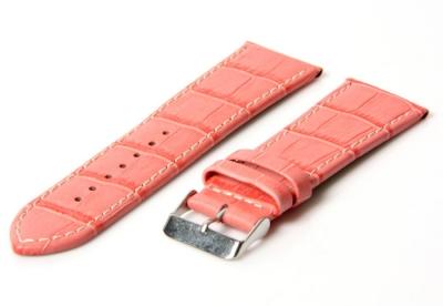 Uhrenarmband 34mm Rosa Leder mit Kroko-Druck