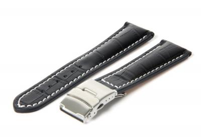 Gisoni Uhrenarmband 22mm Schwarz Leder mit Kroko-Druck