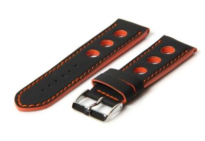 Uhrenarmband 18mm Schwarz/Orange Kautschuk (Racing)