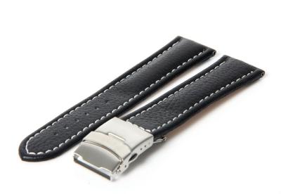 Gisoni Uhrenarmband 24mm Schwarz Kalbsleder
