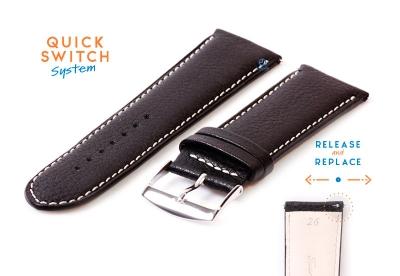 Uhrenarmband 26mm Schwarz Leder