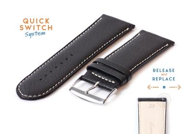 Uhrenarmband 28mm Schwarz Leder