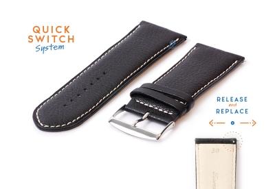 Uhrenarmband 30mm Schwarz Leder