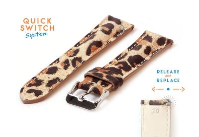 Uhrenarmband 20mm Leder mit Leopardenmuster