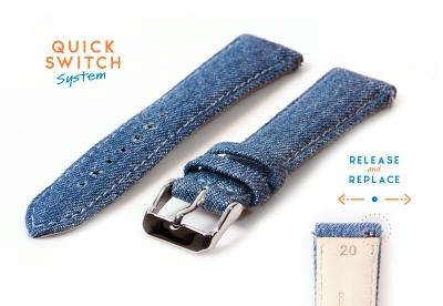 Uhrenarmband 20mm Leder mit Denim-Look