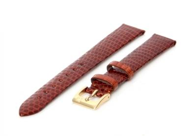 Uhrenarmband 14mm Braun Leder mit Eidechsendruck XL