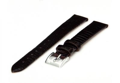 Uhrenarmband 14mm Dunkelbraun Leder mit Eidechsendruck XL