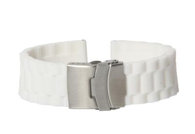 Uhrenarmband 22mm Weiß Kautschuk