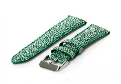 Uhrenarmband 22mm Grün Leder mit Stingray-Druck