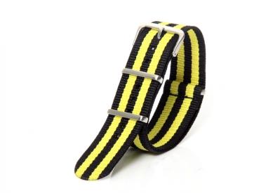 Uhrenarmband 22mm gelb/schwarz Nylon