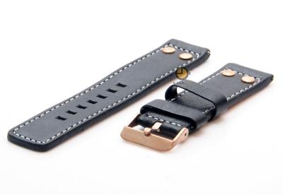 Oozoo Uhrenarmband 22mm Schwarz Leder