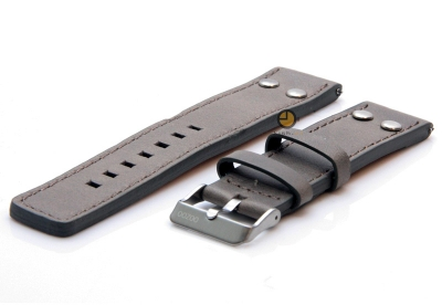 Oozoo Uhrenarmband 22mm Grau Leder