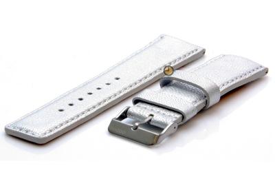 Oozoo Uhrenarmband 24mm Silber Leder