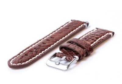 Gisoni Uhrenarmband 24mm Braun  echtes Krokodilleder XL