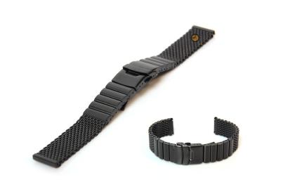 Uhrenarmband 20mm Schwarz Mailänder Stahl matt