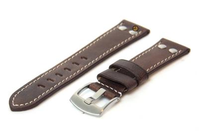 Uhrenarmband 24mm Dunkelbraun Leder Vintage-Look
