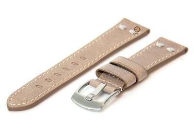 Uhrenarmband 24mm Taupe Leder Vintage-Look