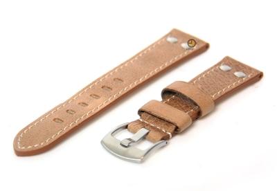 Uhrenarmband 24mm Hellbraun Leder Vintage-Look
