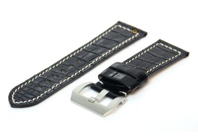 Uhrenarmband 26mm Schwarz Leder mit Kroko-Druck