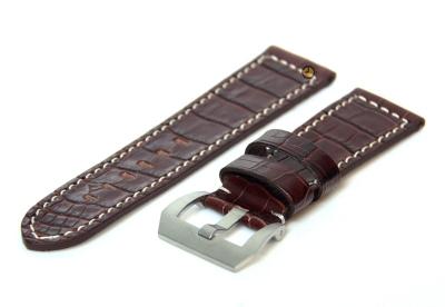 Uhrenarmband 26mm Dunkelbraun Leder mit Kroko-Druck
