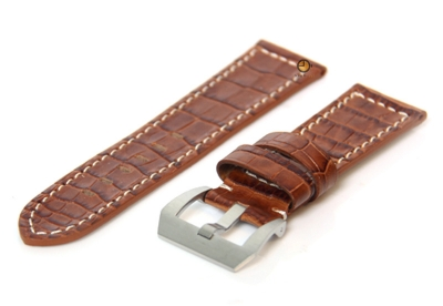Uhrenarmband 26mm Braun Leder mit Kroko-Druck