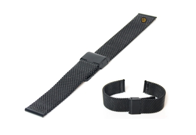 Uhrenarmband 20mm Schwarz Mailänder Stahl