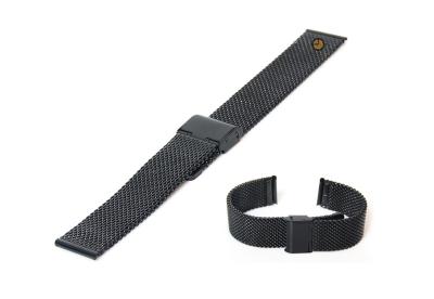Uhrenarmband 22mm Schwarz Mailänder Stahl