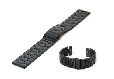 Uhrenarmband 22mm Schwarz matt Stahl