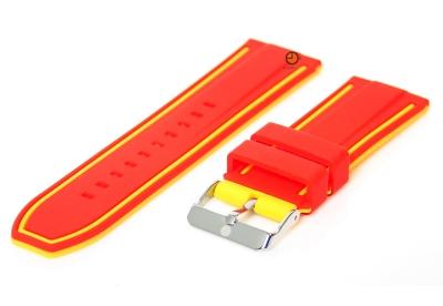 Uhrenarmband 26mm Rot-Gelb Silikon, umdrehbar