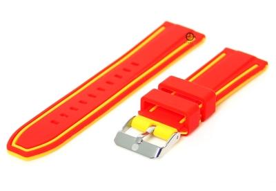 Uhrenarmband 20mm Rot-Gelb Silikon, umdrehbar