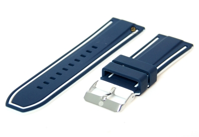 Uhrenarmband 26mm Blau-Weiß Silikon, umdrehbar