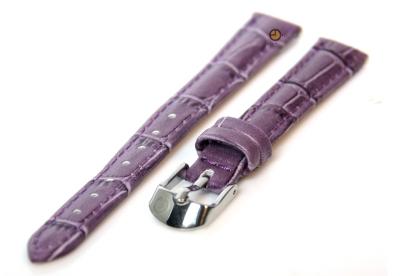 Uhrenarmband 12mm violet Violett Leder mit Kroko-Druck