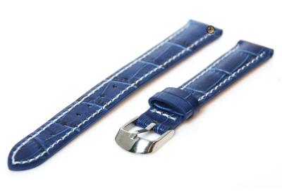 Uhrenarmband 12mm Blau Leder mit Kroko-Druck