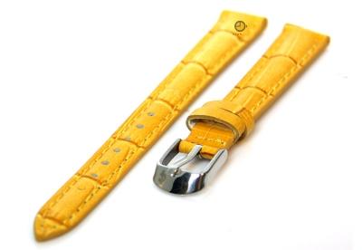Uhrenarmband 12mm Gelb Leder mit Kroko-Druck