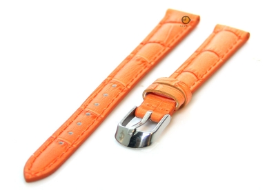 Uhrenarmband 12mm Orange Leder mit Kroko-Druck