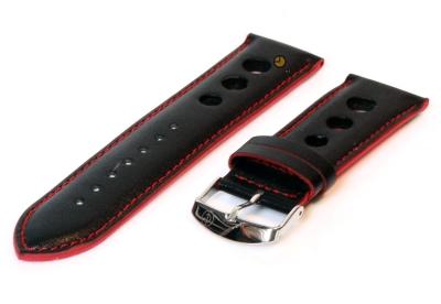 Uhrenarmband 26mm Schwarz-Rot Leder (Rally)