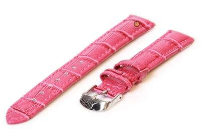 Uhrenarmband 12mm fuchsia Leder mit Kroko-Druck