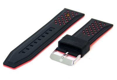26mm Silikon Uhrenarmband Schwarz/Rot