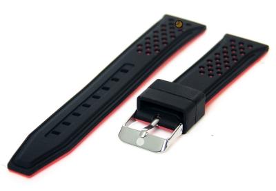 20mm Silikon Uhrenarmband Schwarz/Rot