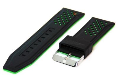 24mm Silikon Uhrenarmband Schwarz/grün